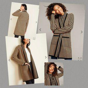 Ann Taylor Houndstooth Long Cardigan Sweater XXL